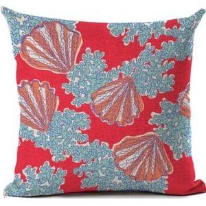 NWT Blue + Coral Beach House Pillow Cover